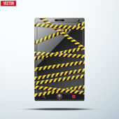 Smartphone, mobile phone wrapped danger tape. — Stock Vector