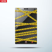 Smartphone, mobile phone warning tape wrapped. vector illustration. — Stock Vector