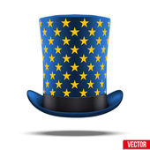 Blue big wizard hat cylinder with gold stars. — Stock Vector