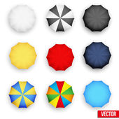 Symbol set of a parasol, top view. Vector. — Stock Vector
