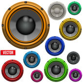 Set of Colorful Sound Load Speakers — Stock Vector