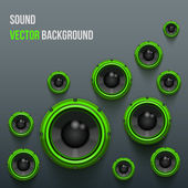 Green Sound Load Speakers on dark background. — Stock Vector