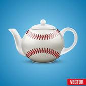 Ceramic Teapot In Baseball Ball Style. Vector Illustration. — Vector de stock