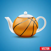 Ceramic Teapot In Basketball Ball Style. Vector Illustration. — Stock Vector