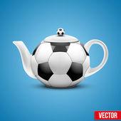 Ceramic Teapot In Soccer Ball Style. Vector Illustration. — Stockvektor