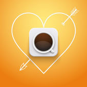 Background cup of coffee and heart with arrow. — Vector de stock