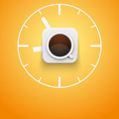 Background cup of coffee and time. Vector Illustration. — Vector de stock