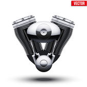 Retro motorcycle engine. Vector Illustration. — Stock Vector