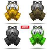 Set of gas mask respirator. Vector Illustration. — Stock Vector