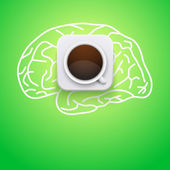 Background of cup coffee and brain. Vector Illustration. — Stock Vector