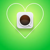 Background cup of coffee and heart. — Stock Vector