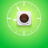 Background cup of coffee and time. Vector Illustration. — Stock Vector