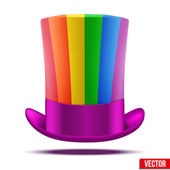 Striped of rainbow big gentleman hat cylinder — Stock Vector