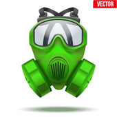 Green gas mask respirator. Vector Illustration. — Stock Vector