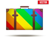 Classic vintage luggage suitcase for travel in rainbow color. — Stock Vector