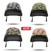 Set of Military camouflage helmets. Vector Illustration. — Stock Vector