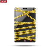 смартфон, мобильный телефон предупреждение лента оборачивается. векторные иллюстрации. — Cтоковый вектор