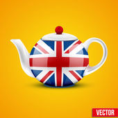 Background of English ceramic teapot with flag Great Britain. — Stock Vector