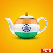 Indian ceramic teapot. Vector illustration. — Stock Vector