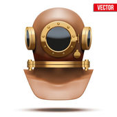 Underwater diving helmet. Vector Illustration — Stock Vector