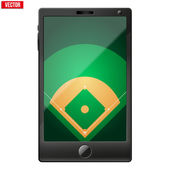 Smartphone with a baseball field on the screen. — Stock Vector