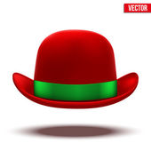 Red bowler hat on a white background. vector — Stock Vector