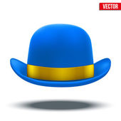 Blue bowler hat on a white background vector — Stock Vector