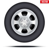 Tire and wheel of car. Vector Illustration — 图库矢量图片