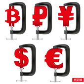 Set of Currency symbols being squeezed in a vice — Stock Vector