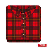 Icon flannelet check texture plaid shirt — Stock Vector