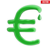 Currency euro in green liquid form. — Stock Vector