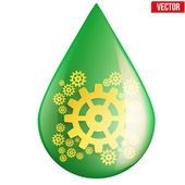 Green oil industry drop symbol with gears cogs — Stock Vector