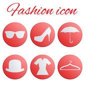 Moda rojo realista botón set — Vector de stock