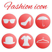 Red fashion realistic button set — Stok Vektör