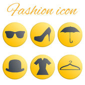 Yellow fashion realistic button set — Stok Vektör