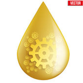 Yellow oil industry drop symbol with gears cogs — Stock Vector