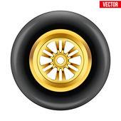 Vector race wheel and tire symbol — Vettoriale Stock