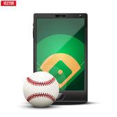 Smartphone avec une balle de base-ball et de champ sur l'écran. — Vecteur