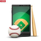 Smartphone con bola de béisbol y el campo en la pantalla. — Vector de stock