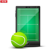 Smartphone with american tennis ball and field on the screen. — Stock Vector