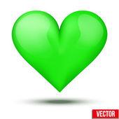 Beautiful realistic green heart. Vector. — Stock Vector