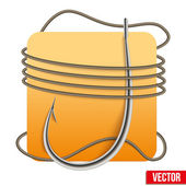 Realistic fishing hook with rope. Vector — Stock Vector
