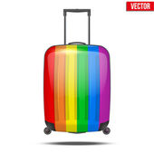Classic rainbow plastic luggage suitcase for air or road travel — Vector de stock