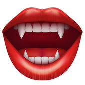 Vampire mouth with open lips. — Stock Vector