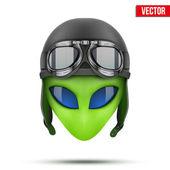 Green Alien head in aviator helmet.. Vector. — Stock Vector