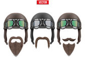 Set of motorcyclist with a beard and moustaches. — Vettoriale Stock