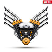 Motorcycle engine with metal wings. Vector Illustration. — Stock Vector