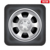 Icon of square car wheel on white background — Stock Vector