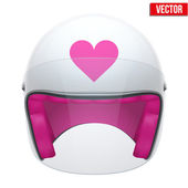 Pink Female Motorcycle Helmet with glass visor. Vector. — Stock Vector
