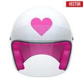 Pink Female Motorcycle Helmet with glass visor. Vector. — Stock Vector